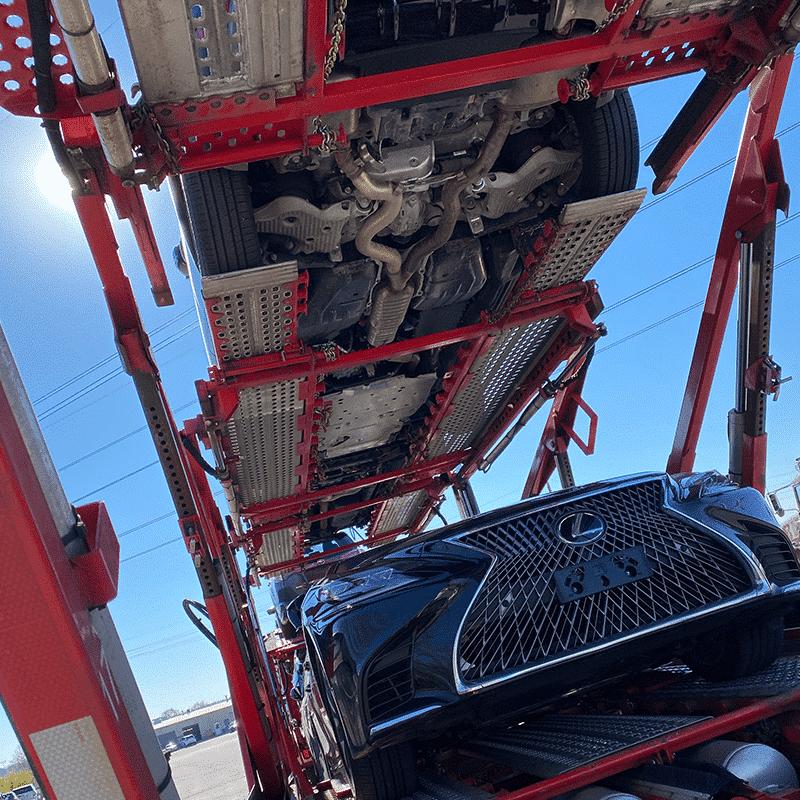 bottom rack of car carrier trailer