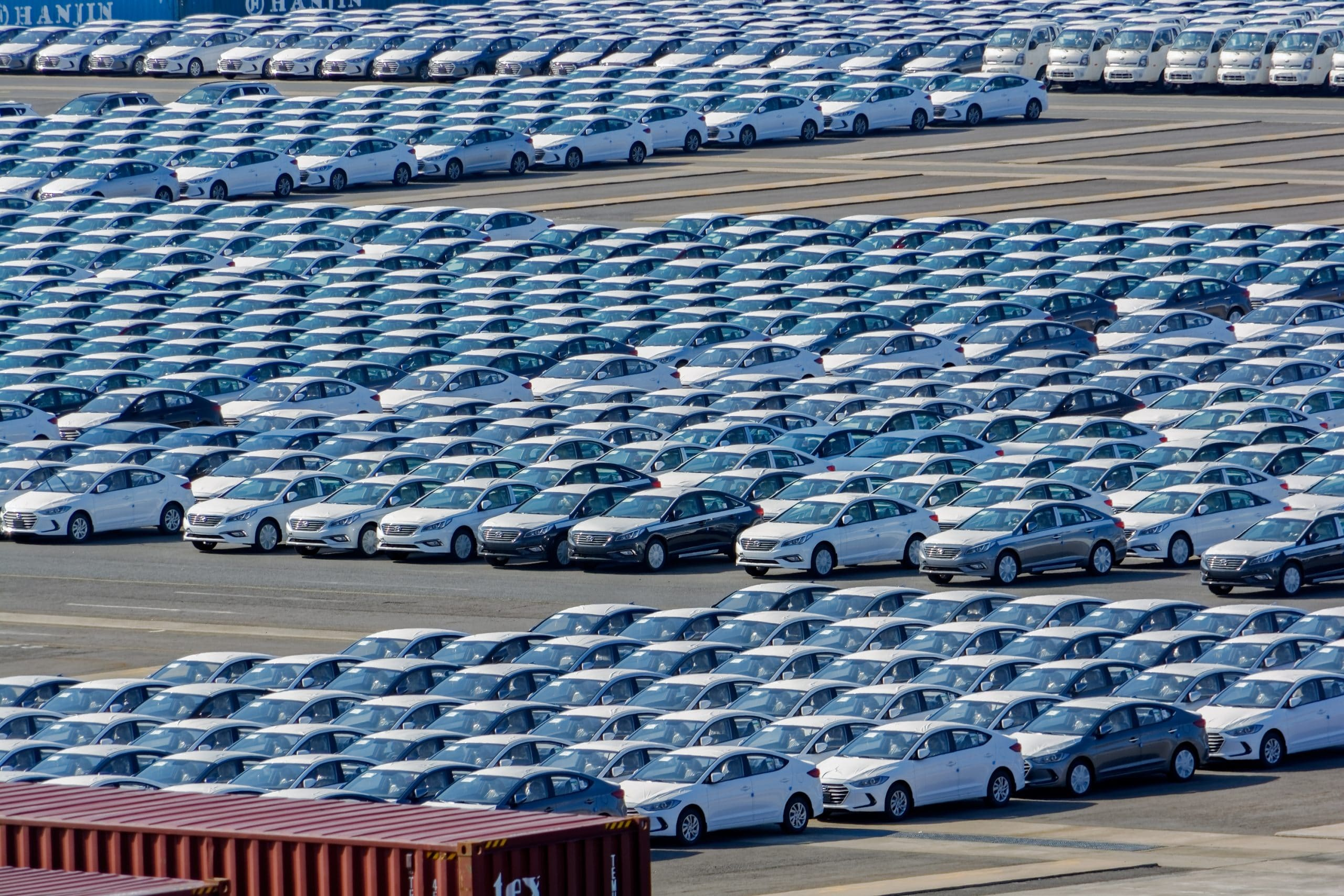 Gwangyang: Rows of new cars waiting to be dispatch and shipped around the world from the cargo port in South Korea.